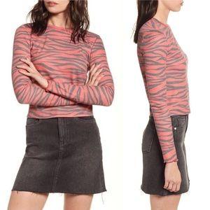 BP. Cozy Thermal Top Red Tango Zebra Stripe New M